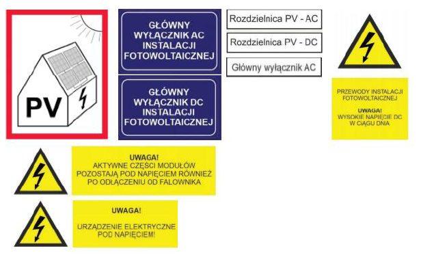 oznakowanie instalacji fotowoltaicznej ppoż